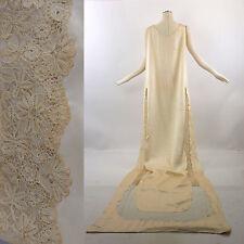 Vintage 20s deco antique silk bridal dress cape train with handmade lace trim