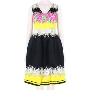 Prabal-Gurung-Black-Yellow-Pink-Rose-Dress-US2-UK6
