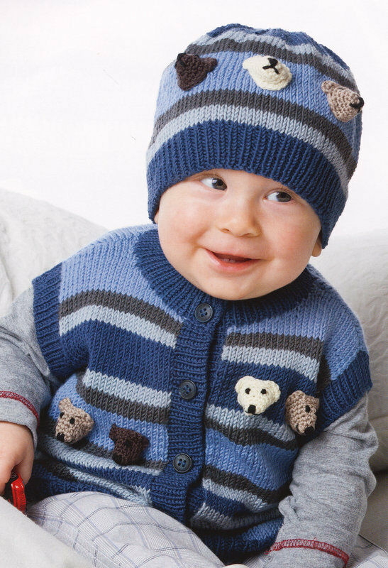 Teddy Bear Head Baby Cardigan Vest Hat 24 31 4 Ply Knitting