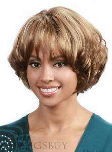 African American Women Short Curly Layered Bob Hairstyle Capless