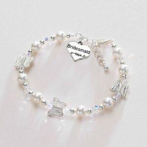 f277b2e86db4 Detalles de bisutería Niñas Damas De Honor Mariposa Pulsera perlas regalo  Bodas Para Chicas