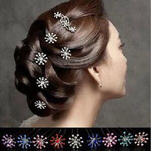 Set-5-Haarnadeln-Schneeflocke-Feuerwerk-Hochzeit-Kommunion-Haarschmuck-9-Farben
