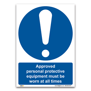 Vinyl Sticker Mandatory Safety Clothing PPE Approved PPE must be worn Sign