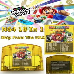NEW-Nintendo-N64-18-in-1-Game-Card-Mario-Party-1-2-3-15-Classic-NES