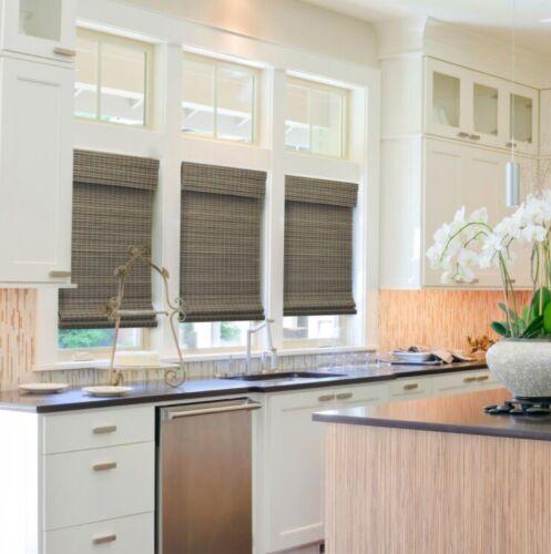 NEW Radiance Cordless Semi Private Bamboo Roman Shade Driftwood Gray