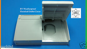 White RV Weatherproof Outlet Cover; For Exterior GFCI 120V ...