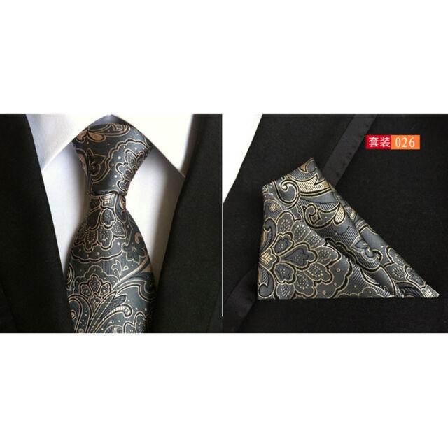 Men Dark Gray Paisley Floral Silk Tie Pocket Square Handkerchief Set Lot HZ079
