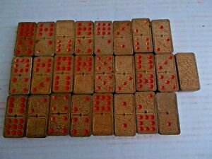 Details About 25 Antique Wooden Dominos Ornately Carved Wood