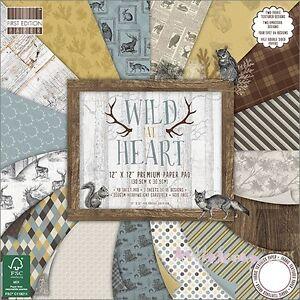 """*papiers Imprimes 20 X 20 Cm """"wild At Heart"""" (lot De 16) Papiers Scrapbooking* à Tout Prix"""