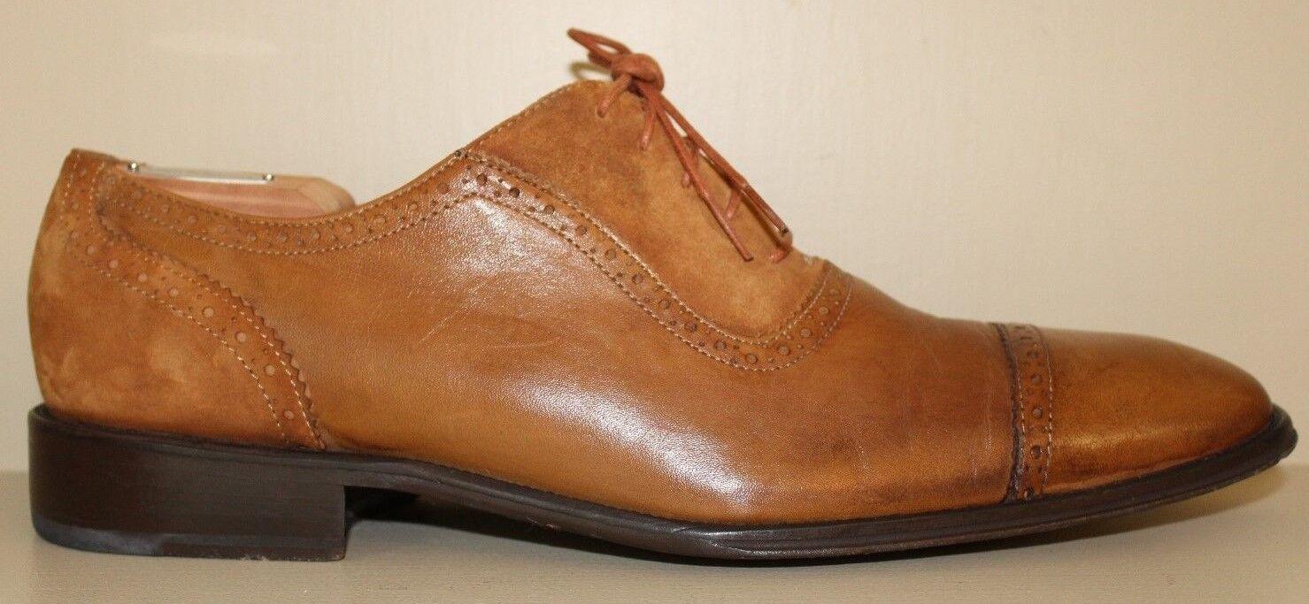 J. L. Rocha Mens Oxford Dress shoes Sz 12   46 Cap Toe Brogue 100% Leather Brown