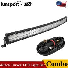 Curved 42inch Led Work Light Bar Spot Flood Combo Driving Lamp Off Road Amp Wiring