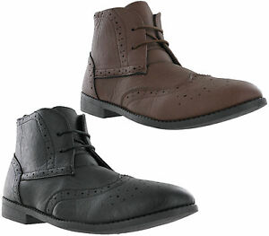 Mens-Brogue-Ankle-Desert-Smart-Lace-Up-Fashion-Heeled-Cushioned-Casual-Boots