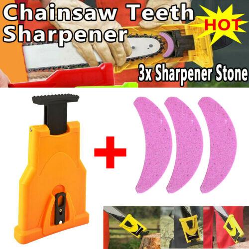 Woodworking Chainsaw Teeth Sharpener+3xStone Grinder Sharpen Grinding Chain