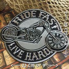 "Ride Fast Live Hard Biker Hog Kustom Chopper Sew On Iron On Embroidered Patch 4/"""