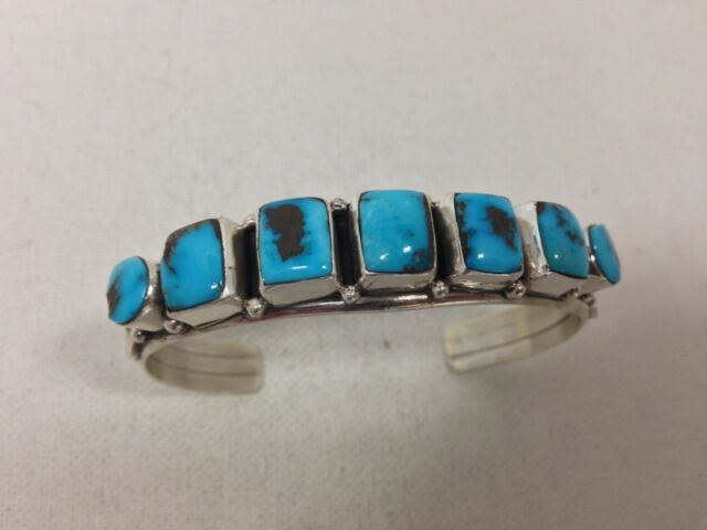 Native American Navajo Indian Jewelry SterlingSilver Kingman Cuff  Bracelet