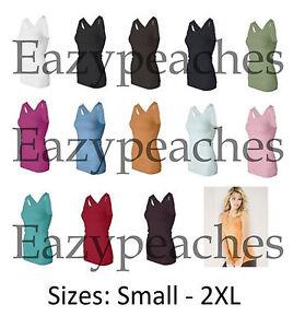 Bella-Ladies-Size-S-2XL-Sheer-Long-Length-Racerback-Tank-Top-T-Shirt-Womens-8770