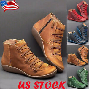 US-Womens-Lace-Up-Ankle-Boots-Flat-Heels-Ladies-Casual-Side-Zipper-Comfort-Shoes