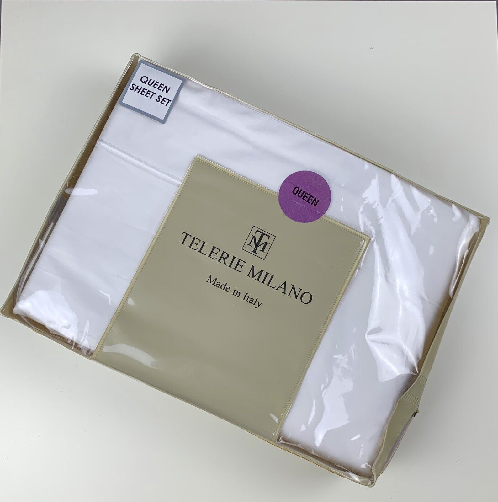 Telerie Milano White 100% Cotton Made in  Queen bed sheet set