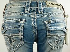 "$180 Rock Revival Womens Jean ""Lacey"" Swarovski Crystal Boot Cut 29 X 30.5"