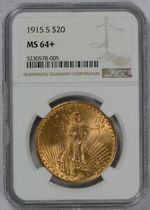 1915 S US Gold $20 Saint-Gaudens Double Eagle - NGC MS64+ Plus Grade