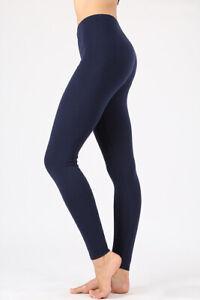Women-039-s-Plain-Leggings-Cotton-Full-Length-High-Waist-Workout-Yoga-Gym-Sports-Fit