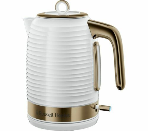 White /& Brass 1.7L RUSSELL HOBBS Inspire Luxe 24366 Jug Kettle 3000W