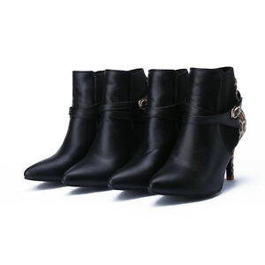 49a5d57176d Details about Women's High-Heeled Booties Black Faux Leather Pointed Shoes  Elastic Ankle Boots