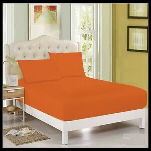 High Quality ORANGE FITTED PLAIN BED SHEETS DYED POLY COTTON