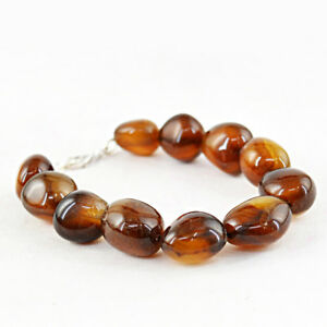 Meilleure Qualité 315.50 Earth Mined Brown Onyx Non Traités Perles Fait Main Bracelet-afficher Le Titre D'origine Belle Apparence