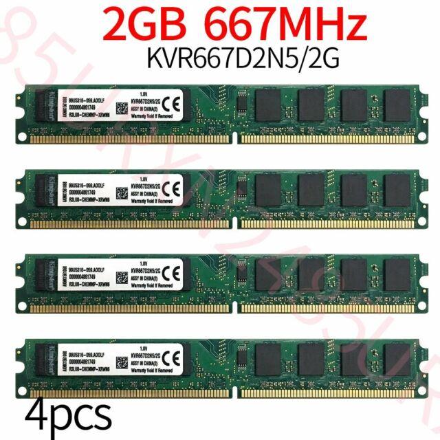 8GB 4x 2Go Kingston PC2-5300U KVR667D2N5/2G DDR2 667Mhz 1.8V DIMM Mémoire RAM FR