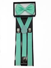 New Awesome Mint Green Bow Tie & Suspender Set- Adjustable Bow Tie & Suspenders