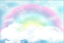 7x5FT Pink Rainbow Clouds Sky Custom Photo Studio Background Backdrop Vinyl