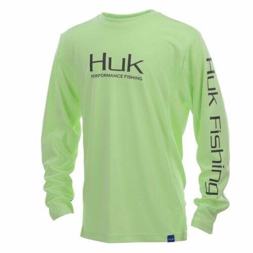 Save 50/% HUK ICON X Youth LS Performance Fishing Shirt Free Ship Lime Green