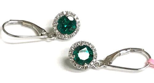 Argent sterling 925 Rond Vert Tourmaline Zircone cubique Pave Halo Élégant Boucles d/'oreilles pendantes