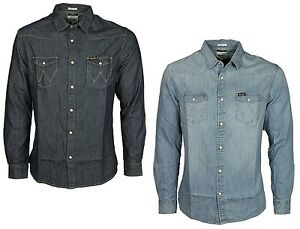 MENS-WRANGLER-DENIM-SHIRT-IN-RINS-LIGHT-INDIGO-BLUE-DESIGNER-TOP-ALL-SIZES-S-XXL