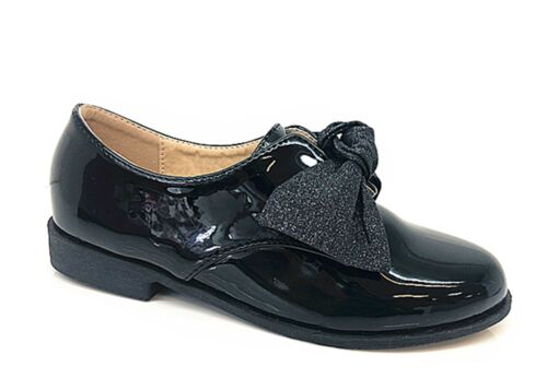 kids Girls Children Glittery Bow Shinny Flat Fashion Back To School Shoes Loafer