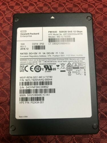 SAMSUNG SSD 920GB SAS 12 Gbps ARFX0920S5xnNTRI  HP Enterprise PM1643