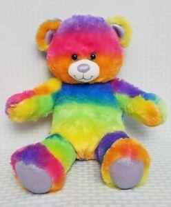 Build-a-Bear-Bright-Tye-Dye-Bear-Rainbow-Colors-with-PURPLE-Nose-Beautiful-18-034