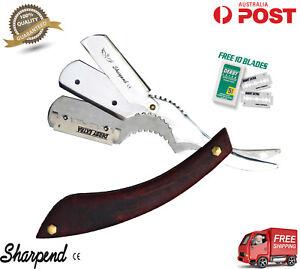 Cut-Throat-Shaving-Razor-Barber-Salon-Razor-Hairdressing-Wood-Handle-10-BLADE