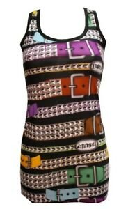 LADIES-FUNKY-MULTI-PYRAMID-STUD-BELTS-PRINT-LONG-VEST-TANK-TOP-DRESS-GOTH-EMO