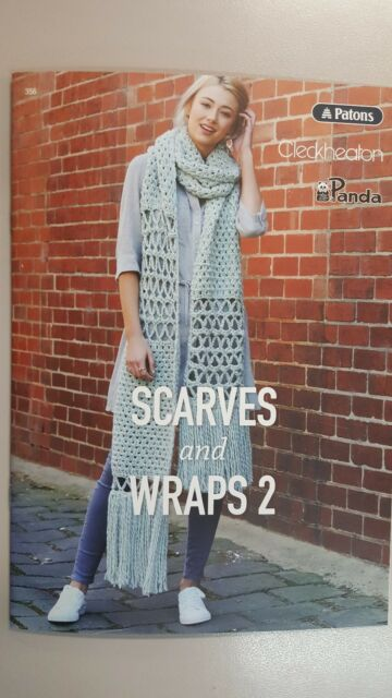 Patons Scarves Wraps 2 Book Knitting Crochet Cape Poncho Shawl Top