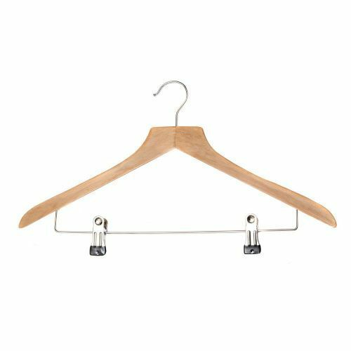 """15¼/"""" 3285 Wooden SUIT HANGERS with Adjustable Chrome Plated Clips 39cm"""