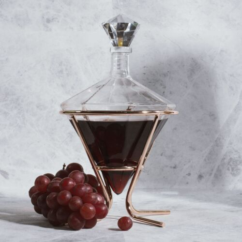 Soire ́ E Diamantförmig Dekanter und Kupfer Halter Whisky Whisky Brandy Glas