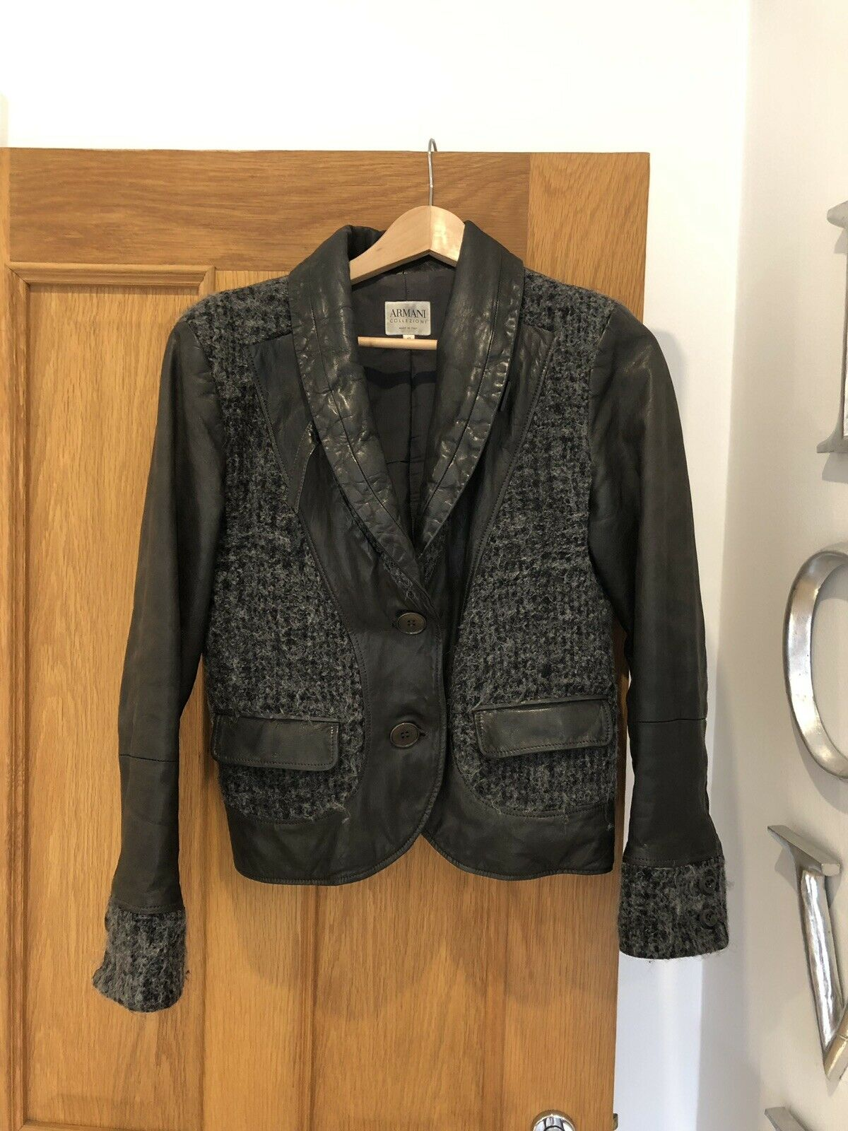 Gorgeous Armani Collezioni braun Lamb Leather & Wool Jacket Größe 42