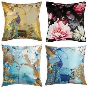 Arthouse-Luxury-Foil-Velvet-Cushions-Peacock-Floral-45x45cm-Filled-amp-Reversible