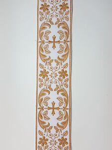 Vintage-Religioso-Croce-Design-Cupper-Color-Oro-su-Bianco-Bendaggio-8-3cm-C138