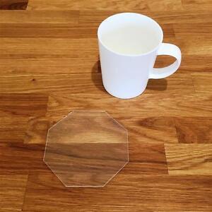 """Qualifié Octogone En Forme De Clair Brillant Acrylique Coasters, Ensembles De 4, 6 Ou 8, 10.5 Cm 4""""-afficher Le Titre D'origine"""