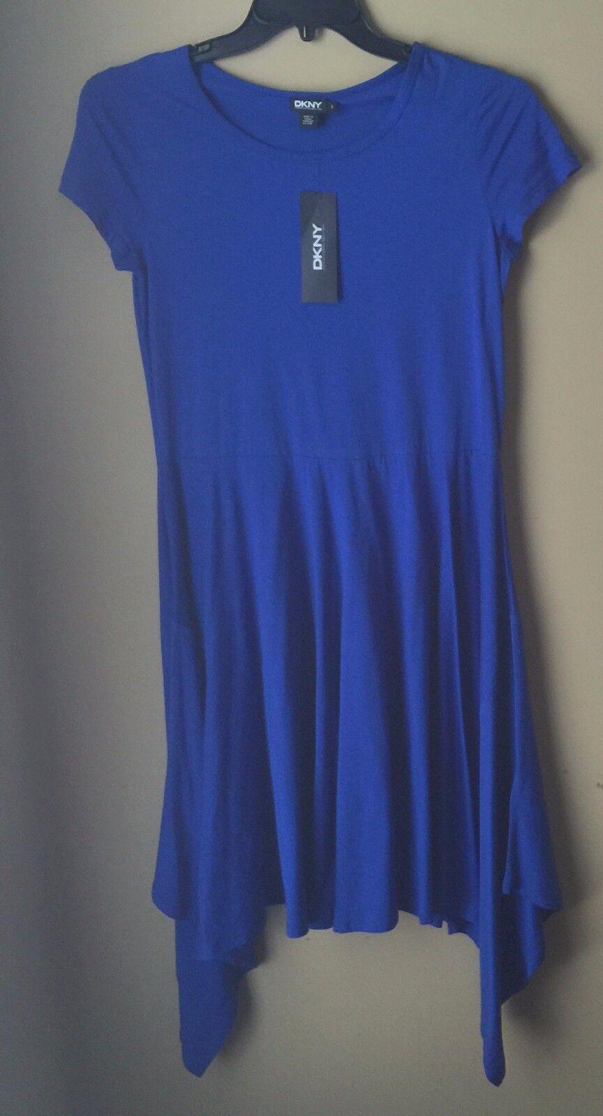 DKNY True bluee Cotton Short Sleeve Shift Asymmetric Dress S