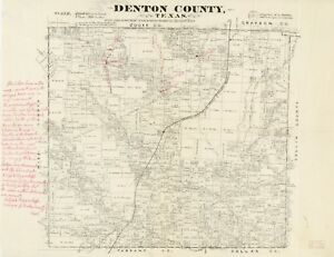 A4 Reprint of American Cities Towns States Map Denton County Texas on