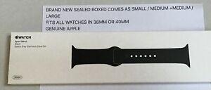 Authentique Apple Montre Sport Bracelet Noir Pour 38mm Ou 40mm S/m + M/l